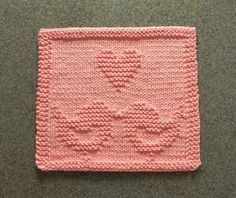 LOVE BIRDS Knitted Dishcloth - Unique Hand Knitted Design - Peach Heart 100% Cotton Dish Cloth Wash Cloth - Bridal Shower Hostess Gift