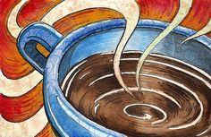 Πάμε για καφέ Espanto, Coffee Illustration, Slow Dance, Stained Glass Panels, Coffee Art, Black Coffee, Scene, Painting, Image