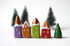 little clay houses - chosen on my favorites list on Etsy. hoe Christmas is that?
