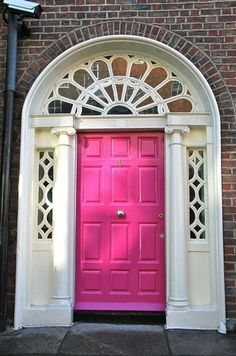 I really like this ..I seen one painted lime green the other day and it looked really good..Pink wooden door. One day for my dream home with 'the' big wooden door. Could i be bold enough to paint it hot pink...