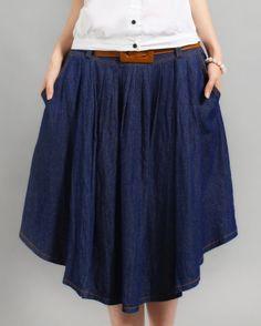 navy skirt with curved irregular hem