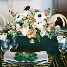 White and caramel colored flower centerpiece with anemones, garden roses, sweet peas, and ranunculus (Courtney Inghram Floral Design) Copper Wedding, Ranunculus, Anemones, Caramel Color, White Gardens, Flower Centerpieces, My Favorite Part, Floral Design, Table Decorations
