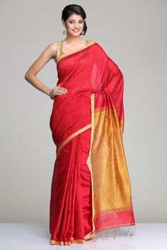 Maroon Matka Silk Saree With Golden Orange Pallu With Maroon Striped Pattern Highlighted With Red Sequence