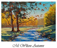 Autumn oil painting READY TO HANG fall trees art by GerckenGallery, $169.00