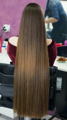 Hairstyle collection for girls Permed Hairstyles, Pretty Hairstyles, Straight Hairstyles, Long Brown Hair, Very Long Hair, Beautiful Long Hair, Gorgeous Hair, One Length Hair, Rapunzel Hair