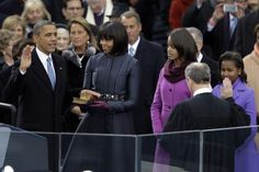 Barack Obama Sworn In As U. President For A Second Term U. President Barack Obama is sworn in by Supreme Court Chief Justice John Roberts as First lady Michelle Obama and daughters, Sasha Obama.