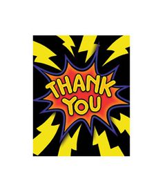 Superhero Fun Thank You Cards - 8ct - Glow Sticks, Glow Necklaces, Glow Bracelets, Wholesale Cheap Glow Sticks #http://pinterest.com/coolglow/