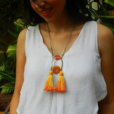 Orange Tassel Necklace with Gemstones - Yellow Statement Necklace w Tassels - Carnelian and Agate - Stone Ladder Necklace  by osofreejewellery