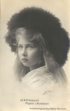 Princess Marie of Romania, nicknamed Mignon, daughter of Queen Marie (nee Princess Marie of Edinburgh) and King Ferdinand. Marie later married King Alexander I of Yugoslavia.