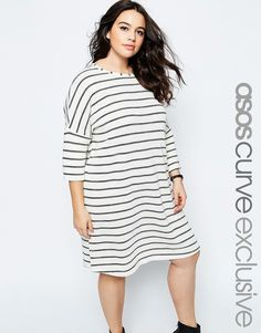 ASOS CURVE T-Shirt Dress in Natural Stripe