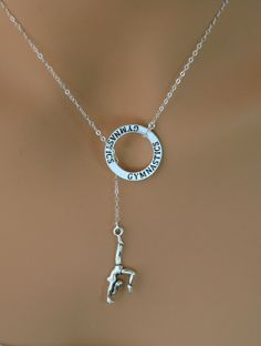 Gymnastics Necklace; Gymnastics Lariat; Silver Pewter and Silver Plated Necklace (scheduled via http://www.tailwindapp.com?ref=scheduled_pin&post=203263)