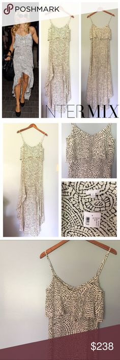 """LOWEST🚨Exclusive For Intermix Hi/lo Maxi Dress New with Tags! Intermix 100% silk High Low slip dress with flounce. Black and white print. Gorgeous dress! Intermix size P-- fits as an XS size 0. Approximate Measurements (taken flat):  17.25"""" armpit to armpit, 15"""" flat across waist. 36"""" from shoulder to center front, 59"""" from shoulder to center back. 🎀Search my closet for my size to bundle and SAVE🎀 Intermix Dresses High Low"""