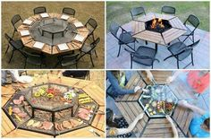 Fire pit, grill, table 3-in-1