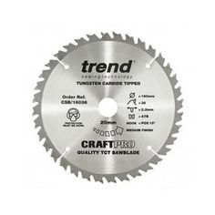*CLICK TO ENLARGE* Trend CSB/16036 CraftPro TCT Saw Blade 160mm x 20mm x 36T