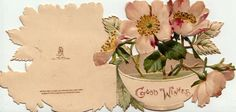 GOOD WISHES in gilt on white bowl containing pink & white wild roses