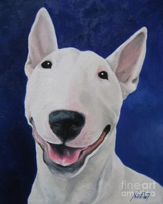 Bull Terrier 'Unconditional' fine art print signed or by Noewi - from my original pai Bull Terriers Anglais, English Bull Terriers, Perros Bull Terrier, Bull Terrier Dog, Smiling Dogs, Animal Paintings, Dog Art, I Love Dogs, Pet Portraits