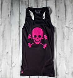 Skull & Barbells Racerback Active Tank - Black/Pink - Gymdoll - Fitness Fashion and Motivational Workout Clothes for Women