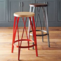 20 Outstanding Modern Kitchen Stools For An Exquisite Meal: Metal And Wood Barstools Rustic Counter Stools, Industrial Bar Stools, Metal Bar Stools, Kitchen Stools, Kitchen Island, Red Kitchen, Kitchen Modern, Bar Counter, Design Kitchen