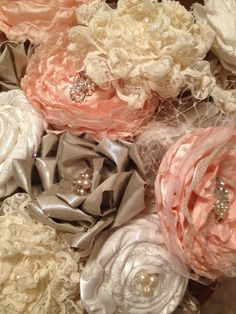dab0caac3e7c Items similar to Eco - Friendly Fabric Flower Wedding Bouquet on Etsy