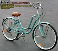 "Amazon.com: Fito Verona Sport 7-speed Women - Sky Blue, 26"" Beach Cruiser Bike Bicycle, Step-through & crank fordward design, Limted QTY Off..."