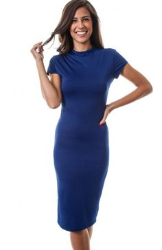High neckline short sleeve knee length bodycon dress. This fitted dress would be perfect to wear with booties. TAGS # , #USA Made Wholesale, #wholesale dresses #fashion wholesale dress , #party dress, #Solid Print, #Boutique #Boutique Wholesale, #Fall Clothing Wholesale 94% POLYESTER. 6% SPANDEX. HAND WASH WITH COLD WATER. DO NOT BLEACH. HANG OR LINE DRY. MADE IN USA. $12.95