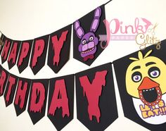 Five Night's at Freddy's banner FNAF Banner Five by Pinkpaperglitz