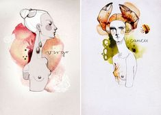 from amazing, Berlin-based artist, Ekaterina, watercolor zodiac...I'm 1/2 Cancer, she's shown on the right here