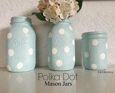 DIY Polka Dot Mason Jars | www.randrworkshop.com #masonjar #polkadots #diy