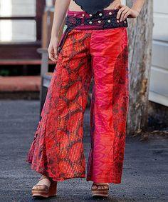 Look what I found on #zulily! Jayli Red Patchwork Palazzo Pants by Jayli #zulilyfinds