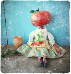 Apple and friend - Ooak 15 inch art doll- romantic doll