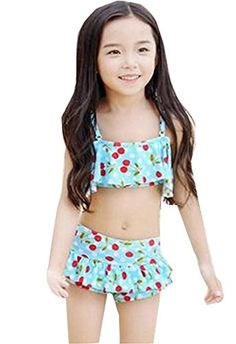 Unko Girls Floral Bikini Set 2pcs Swimwear Swimsuit Skyblue XL8T9T -- For more information, visit image link.