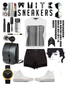 """""""white sneakers"""" by anisamhussainxx ❤ liked on Polyvore featuring rag & bone, Converse, Alexander Wang, Bobbi Brown Cosmetics, Lynn Ban, Revo and Lost Property of London"""
