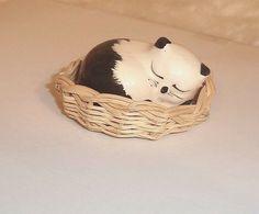 Handmade Miniatures Collectible  Porcelain Cat Sleeping in Basket FIGURINE