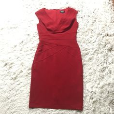 ADRIANNA PAPELL RED COCKTAIL DRESS Women's sizing. Size 4, and has some stretch to it. Would fit a larger cup boob as well. I wear a 2 and it is big on me. Perfect for holiday parties and New Years! Willing to lower for cheaper shipping! Adrianna Papell Dresses Midi