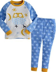 Vaenait Baby Kids Boys Sleepwear Pajama Top Bottom Set Snow Owl Blue XL ** You can find out more details at the link of the image.