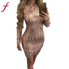 Classics Women Sexy Long Sleeves Sequined Leakback Backpack Hip Causal Bodycon Dresses  #everything #20% #shipping #off #free