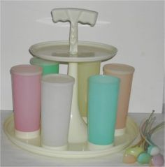Vintage tupperware glasses, with carrier, lids, and tea spoons