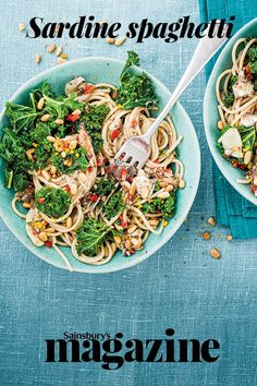 A tin of sardines gives this speedy spaghetti dish a flavour boost. Get this speedy Sainsbury's magazine recipe Yummy Pasta Recipes, Vegan Recipes, Dinner Recipes, Magazine Recipe, Midweek Meals, Spaghetti Recipes, Fish And Seafood, Quick Easy Meals, Food Print