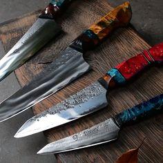 My latest knives kitchen knives handmade Custom kitchen knives -set of four Custom Kitchen Knives, Japanese Kitchen Knives, Custom Knives, Custom Hunting Knives, Best Kitchen Knives, Handmade Chef Knife, Handmade Knives, Handmade Kitchen Knives, Best Chefs Knife