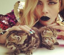 Inspiring picture beautiful, cara delevingne, gorgeous, kittens. Resolution: 500x500 px. Find the picture to your taste!