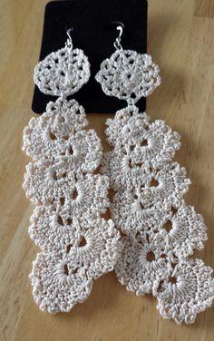 CREAM Crochet Earrings Cascade by SoSweetSoSassy on Etsy, $13.00