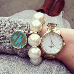 monogram pearl bracelet - love the giant pearls and large watch together!