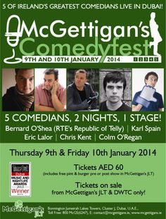 Kick off the New Year with lots of laughs at McGettigan's JLT!