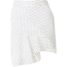 Preen Line Verity skirt ($545) ❤ liked on Polyvore featuring skirts, white, white striped skirt, short white skirt, striped skirts, white asymmetrical skirt and white skirt
