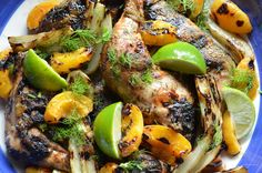 Grilled Chicken with Fennel and Apricots