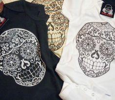 Sugar Skull Baby Romper Day of The Dead Tattoo Onesie Trendy Toddler Boy Girl | eBay