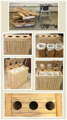 Basurero reciclable, estiba de madera