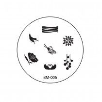 2010 REVISION Nail Plate BM006 - Flowers + Butterfly
