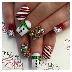 70+ Festive Christmas Nail Art Ideas ❤ liked on Polyvore featuring home, home decor, holiday decorations, xmas, holiday decor, christmas holiday decor, festive home decor and christmas home decor