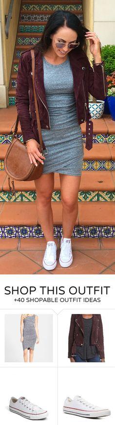 #spring #fashion  Burgundy Suede Jacket & Brown Leather Shoulder Bag & White Sneakers & Grey Dress